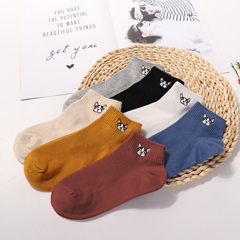Ladies Comfortable Cotton Socks New Fashion All Seasons Cartoon Animal Embroidery Series Women Fresh Harajuku Crew Socks 3 Pairs