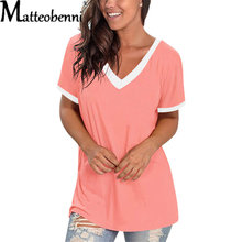 2021 Summer Women New Fashion V-Neck Color Matching T-Shirt Tops Casual Short-Sleeved Loose Solid Color T-Shirt 2XL Large Size