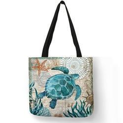 Настроить сумка морской конек черепаха Осьминог узор путешествия сумки на плечо эко льняные сумки для покупок для женщин с принтом