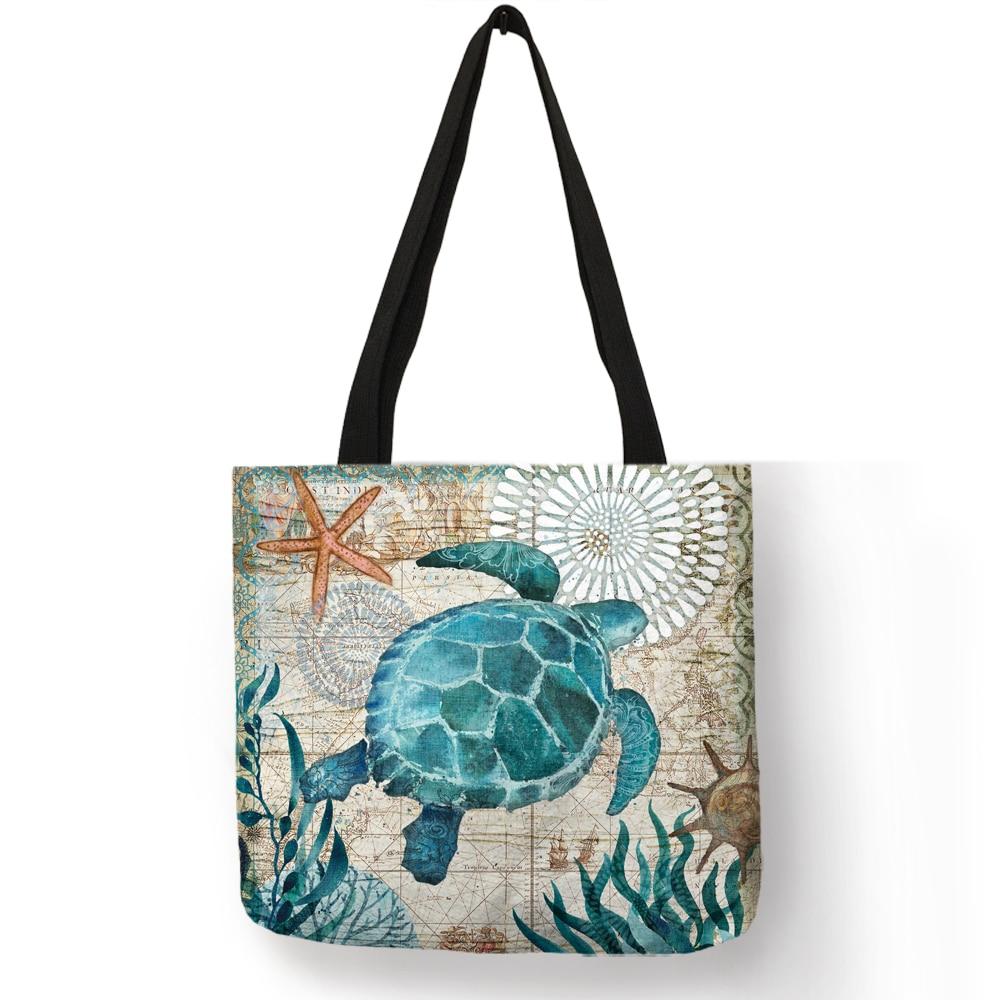 Personnalisez le sac fourre-tout motif de poulpe de tortue d'hippocampe sacs d'épaule de voyage sacs à provisions en lin d'eco pour des femmes avec l'impression