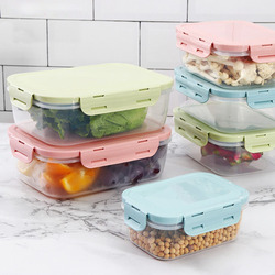Food Storage Container with Lids Plastic Food Containers Lunch Box Refrigerator Airtight Leak Proof Easy Snap Lock PP H2005
