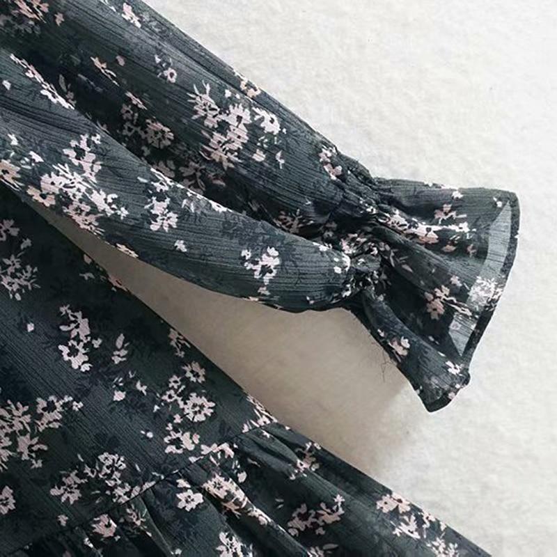 Women Ruffle Bow Tie Mini Floral Print Dress Vintage Long Sleeve Vestido Casual Loose Pleated Ladies Dress Ruffles Party Dresses 4
