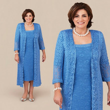 Mother-Of-The-Bride-Dresses Jacket Party-Dress Wedding Plus-Size Sheath Lace Blue Tea-Length