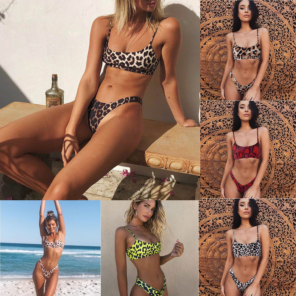 Bikini 2019 Women Swimwear Swimsuit Sexy Leopard Snake Pattern Bathing Suit Bandeau Female Bikinis Set Beachwear Biquini
