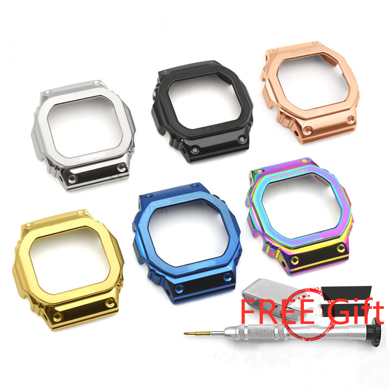Metal Watch Bezel For DW5600 GWM5610 GW5000 Stainless Steel Watchband Protect Frame DW5600 Cover Case Accessory With Repair Tool