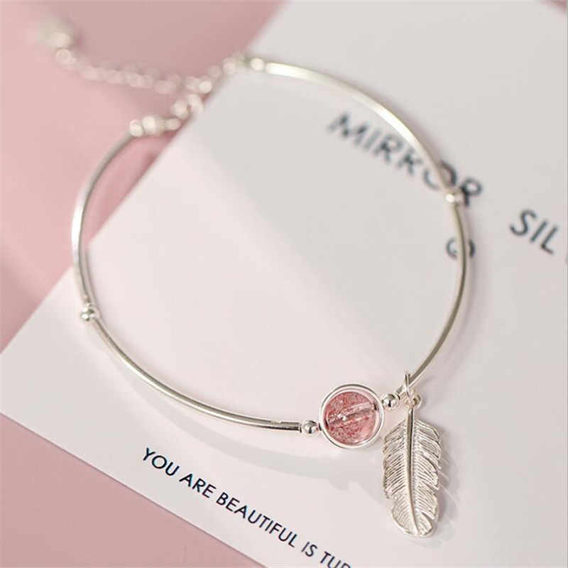 New Creative Pink Crystal Feather 925 Sterling Silver Jewelry Temperament Leaf Natural Strawberry Bracelets SB187