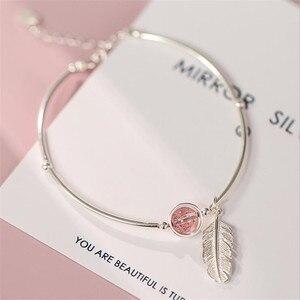 Новый креативный браслет с розовым кристаллом и перьями, серебряное ювелирное изделие, темперамент, лист, натуральный браслет с изображени...
