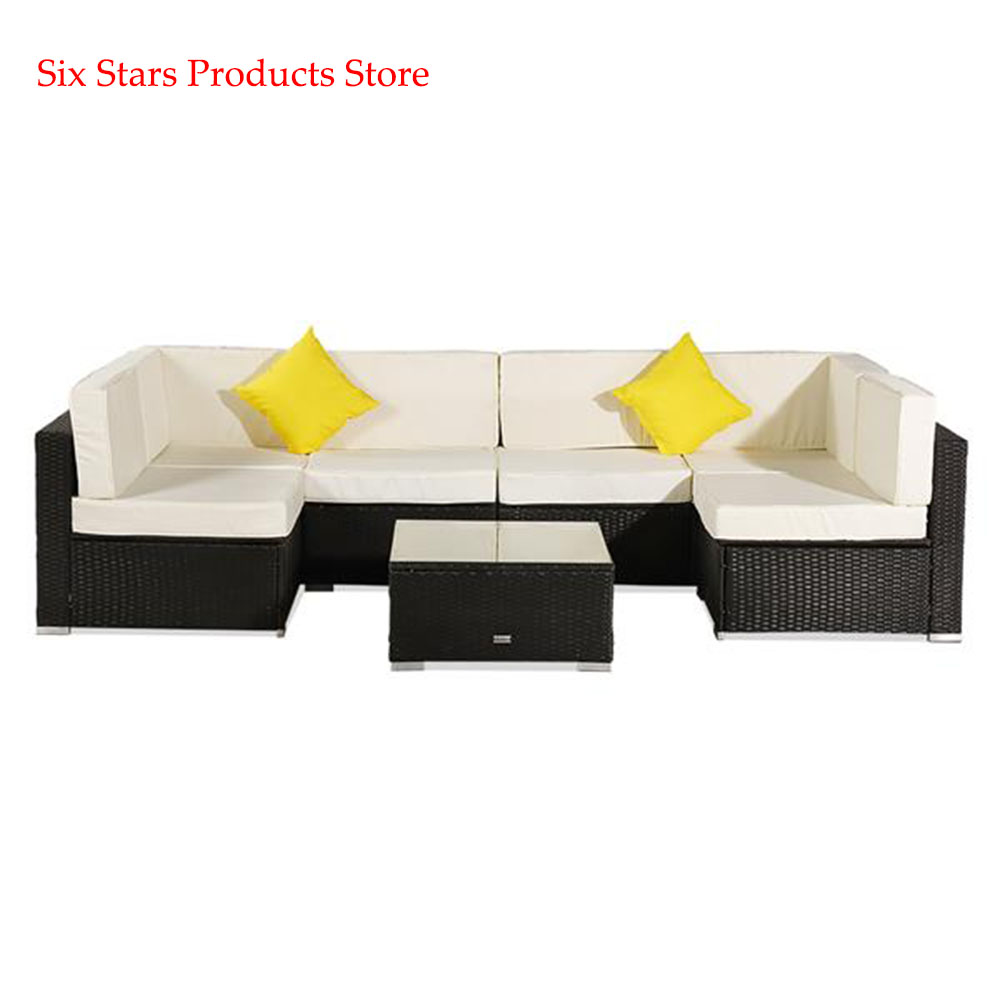 Oshion 7 Pieces Patio PE Wicker Rattan Corner Sofa Set Modular garden sofa Rattan Sofa Outdoor Sofa