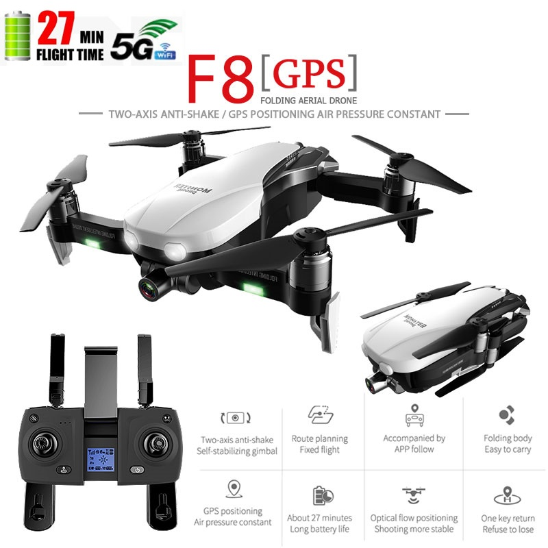 F8 RC Quadcopter Professional Drone 4K GPS HD Camera 5G WIFI FPV Brushless Motor Helicopter Self-Stabilizing Gimbal Follow ME