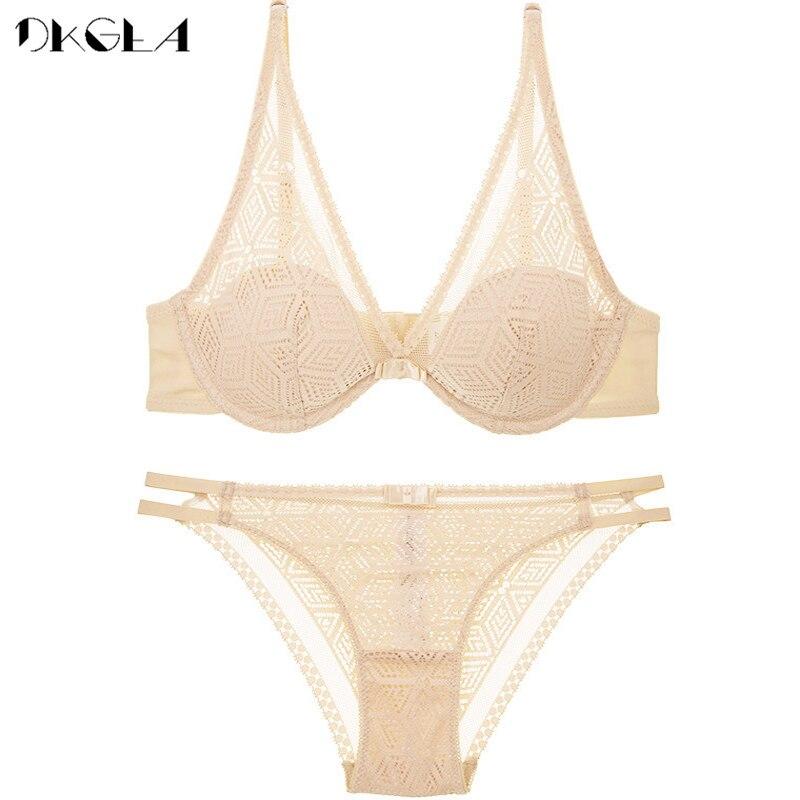 2020 Thin Cotton Bra Panties Sets White Women Lingerie Set Embroidery Hollow Brassiere A B C Cup Sexy Bras Lace Underwear Set 9