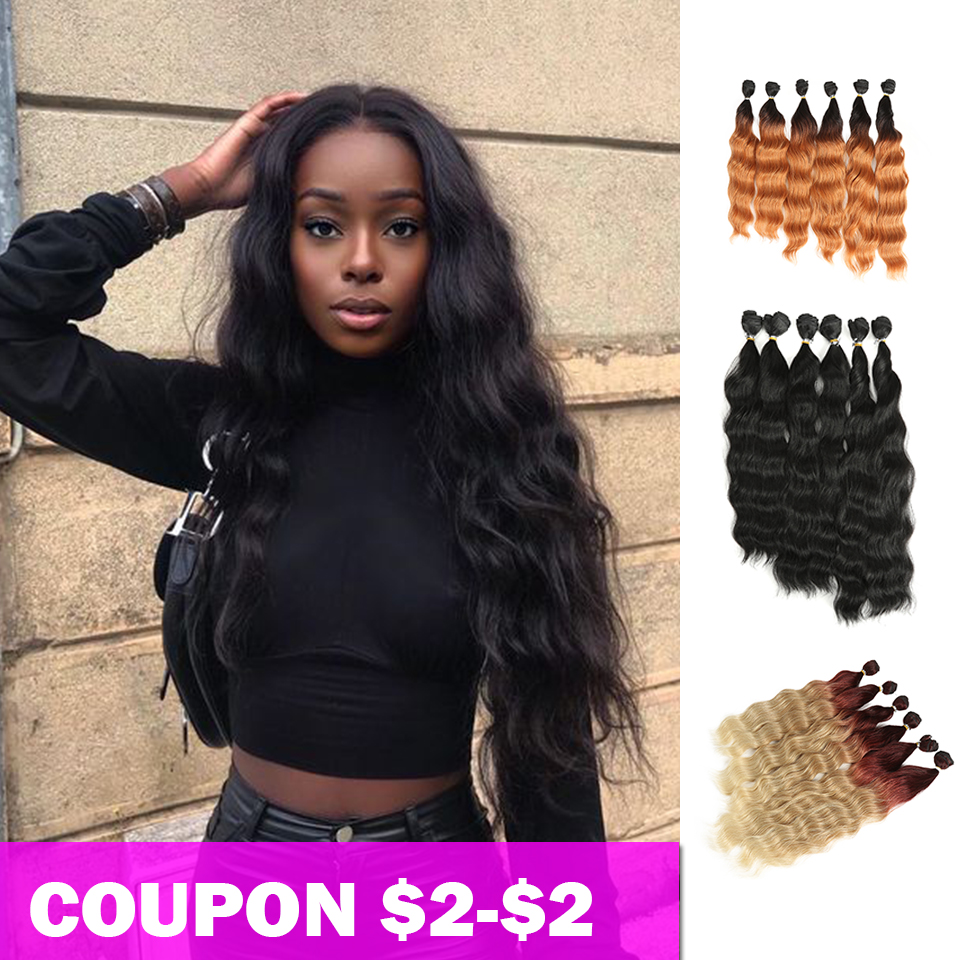 Bella Body Wave Hair 6 Bundles With 1 Closure Synthetic Hair Extensions Ombre Blonde RedHair 7Pcs/Pack 16 18 20inch Hair Weaving