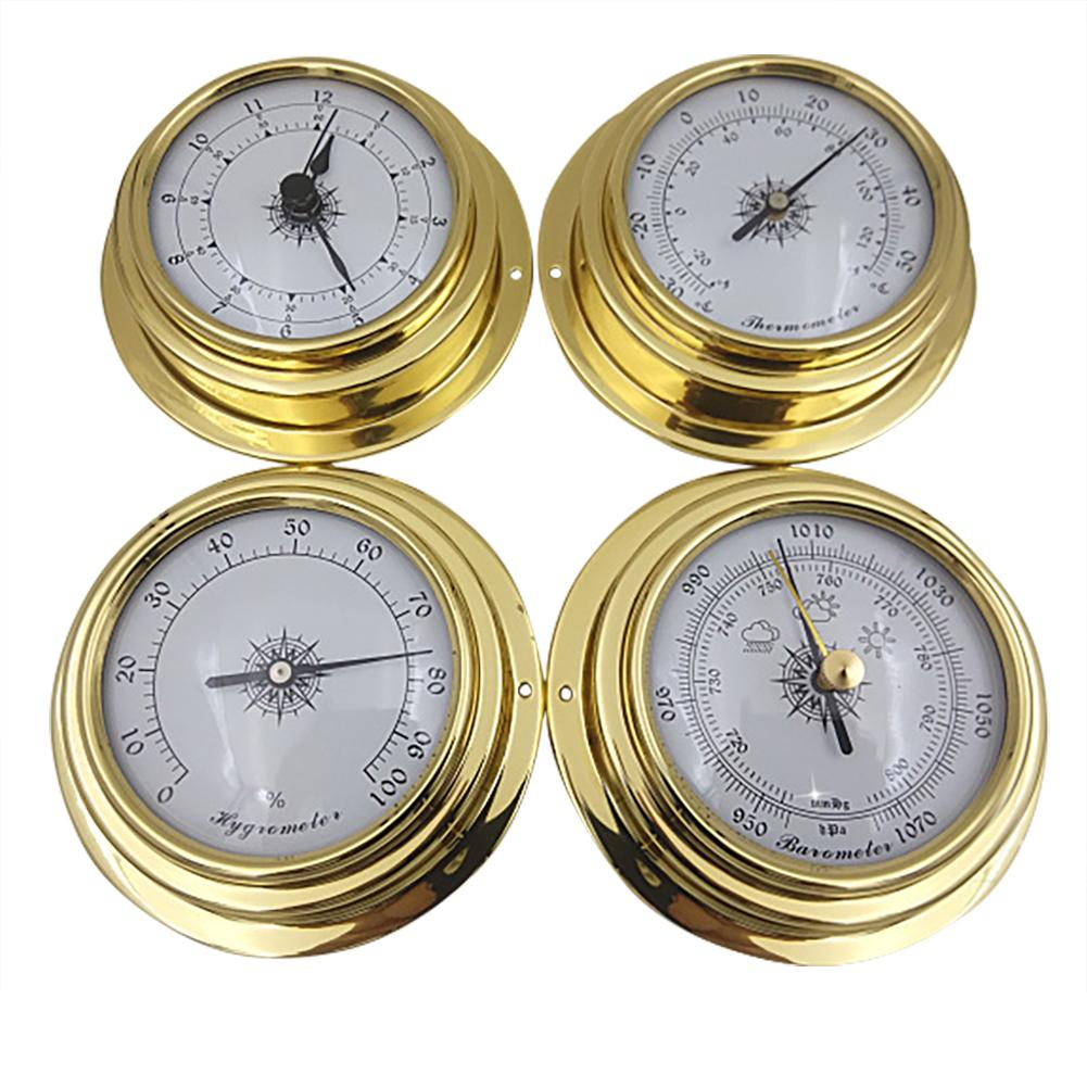4PCS 98mm Copper Shell Zirconium Marine Barometer Thermometer Hygrometer Barometer Clock For Weather Station