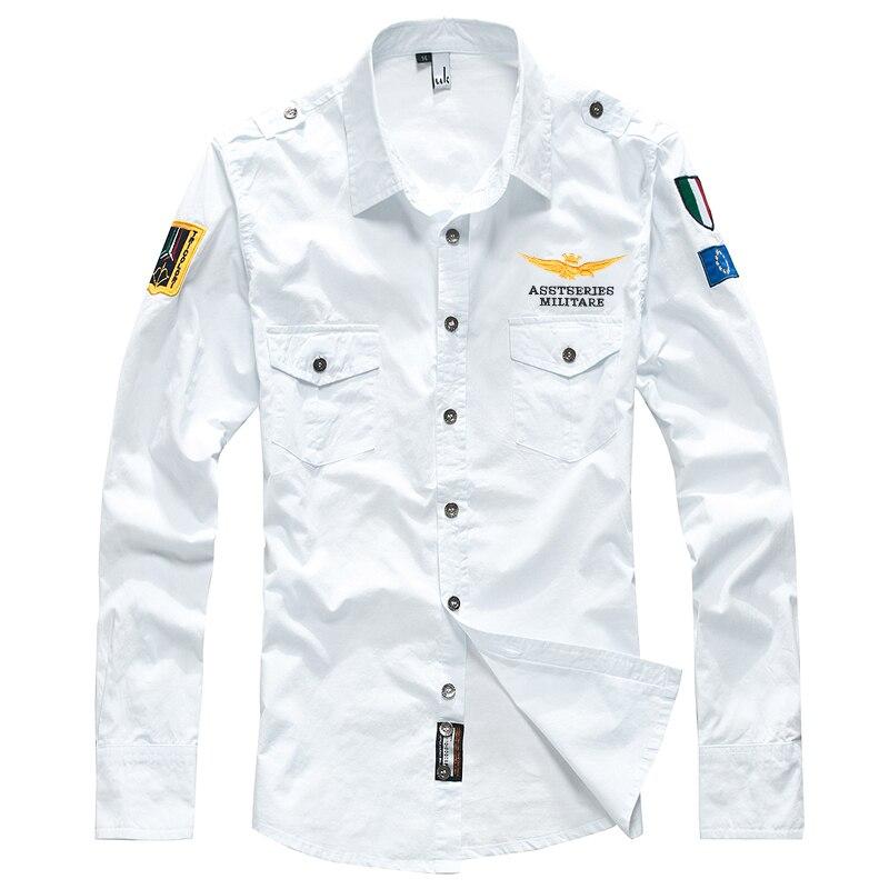 Koszula męska męska koszula z długim rękawem w stylu casual, z haftami pilot koszula air force one wojskowy biały koszula mężczyzna odzież