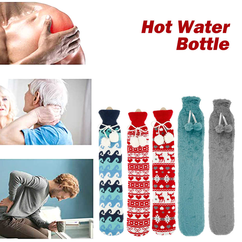 2L PVC Extra Long Hot Water Bottles With Faux Fur Removable Cover 72cm x 12cm