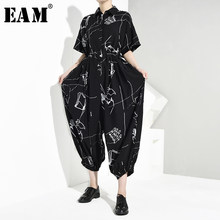 [EAM] Loose Fit Pattern Print Big Size Women Jumpsuit New High Waist Pocket Stitch Pants Fashion Tide Spring Autumn 2019 JW2770(China)