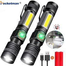 Lampe de poche LED Rechargeable USB 12000lm, torche magnétique Super lumineuse avec Cob Sidelight, clip de poche Zoomable pour le Camping