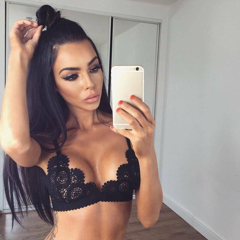 Sexy Woman Bra Floral Lace Bra Top Wire Free Bralette Lingerie Female Seamless Unpadded Sheer Brassiere Intimates Underwear 2019