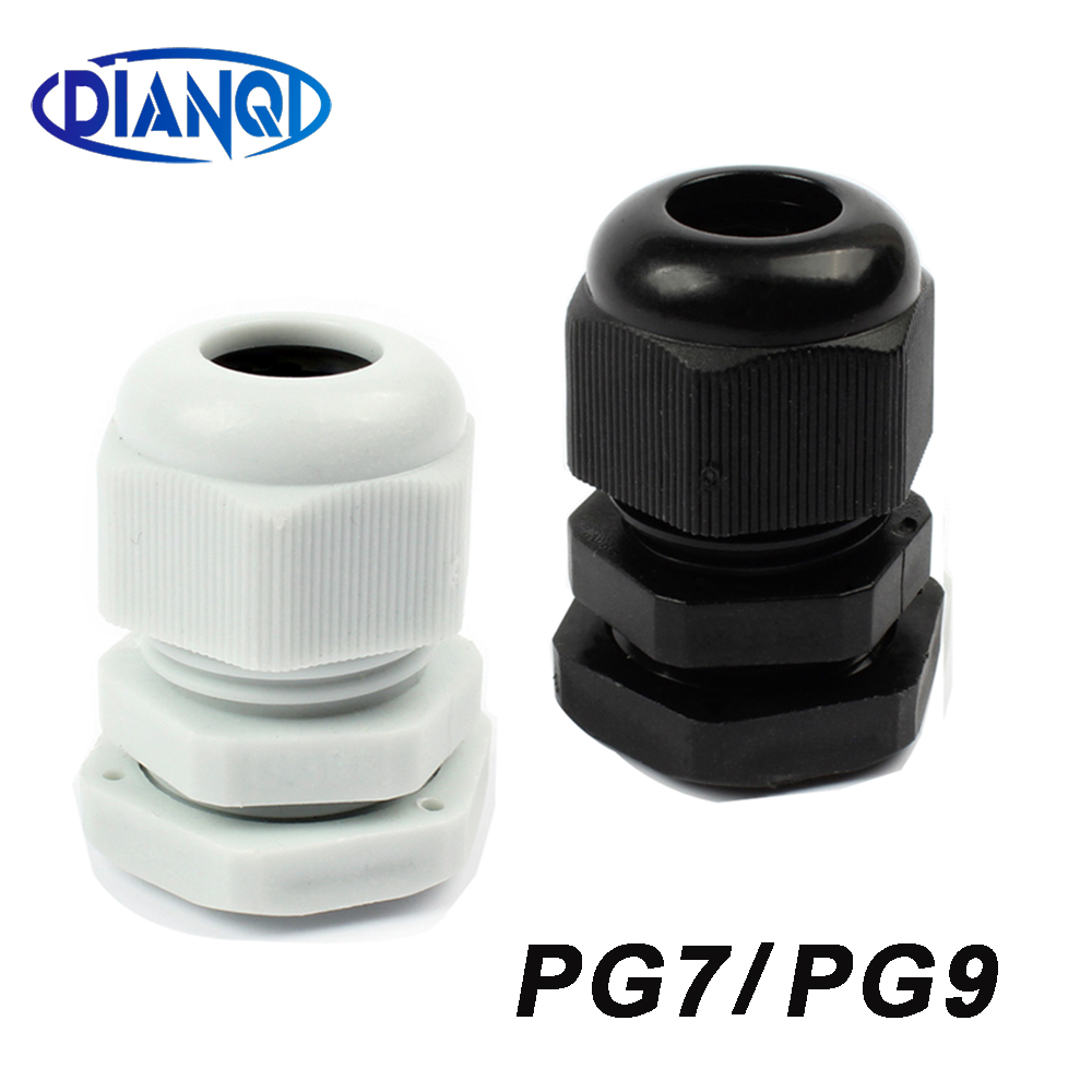 10Pc IP68 PG7 PG9 for 3-6.5mm 4-8mm Wire Cable White Black Waterproof Nylon Plastic Cable Gland Connector with Gasket