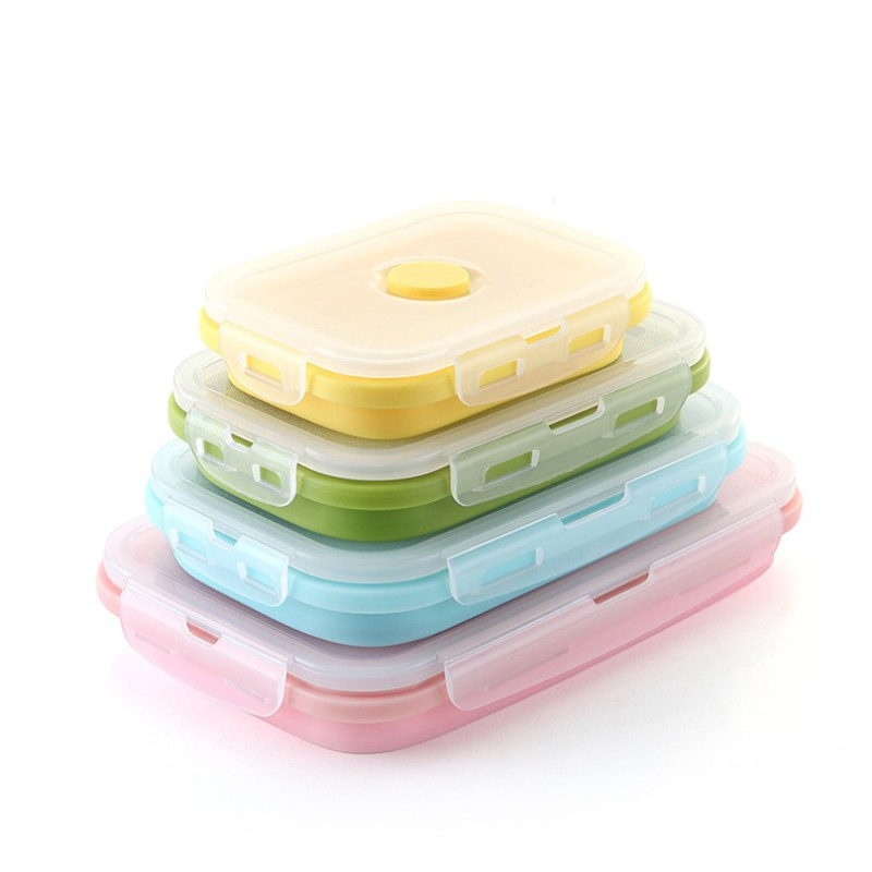 1PC Silicone Folding Bento Box Collapsible Portable Lunch Box Food Storage Container Picnic Camping Rectangle Outdoor Box