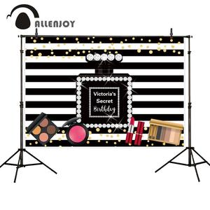 Image 4 - Allenjoy photophone background Pink victoria secret sweet 16 stripes bow polka dots birthday Party backdrop baby girl photocall