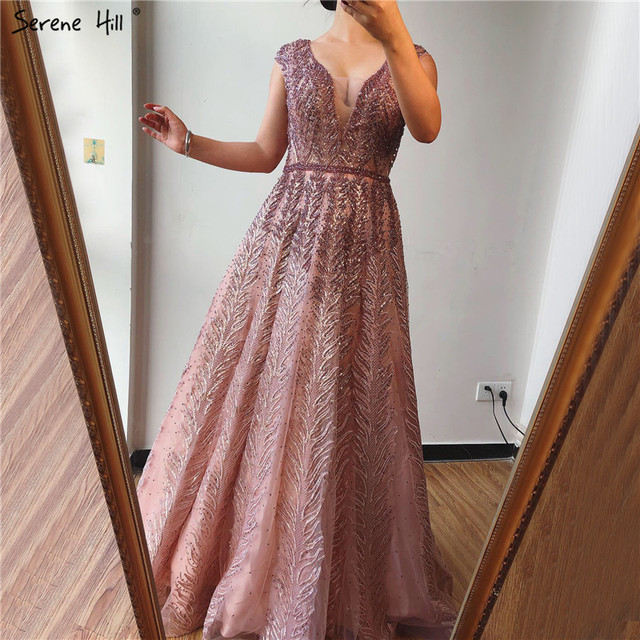 Pink V Neck Evening Dresses Long 2020 Lace Beading Crystal Sleeveless A Line Evening Gowns Serene Hill LA70225