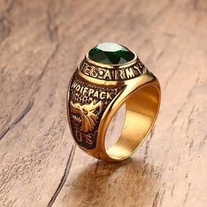Панк винтажное мужское кольцо Мужской Зеленый хрустальный камень титановая нержавеющая сталь золотые кольца викингов для мужчин ювелирны...