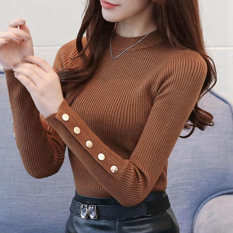 Women Knitted Sweater 2019 New Solid Knitted Female Cotton Soft Elastic Color Pullovers Button Full Sleeve Turtleneck