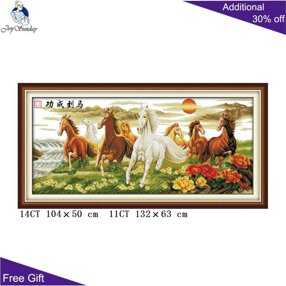 Joy Sunday Horse Home Decoration D020(4) 14CT 11CT Stamped and Counted Wishing You Every Success Wealth And Honour Cross Stitch