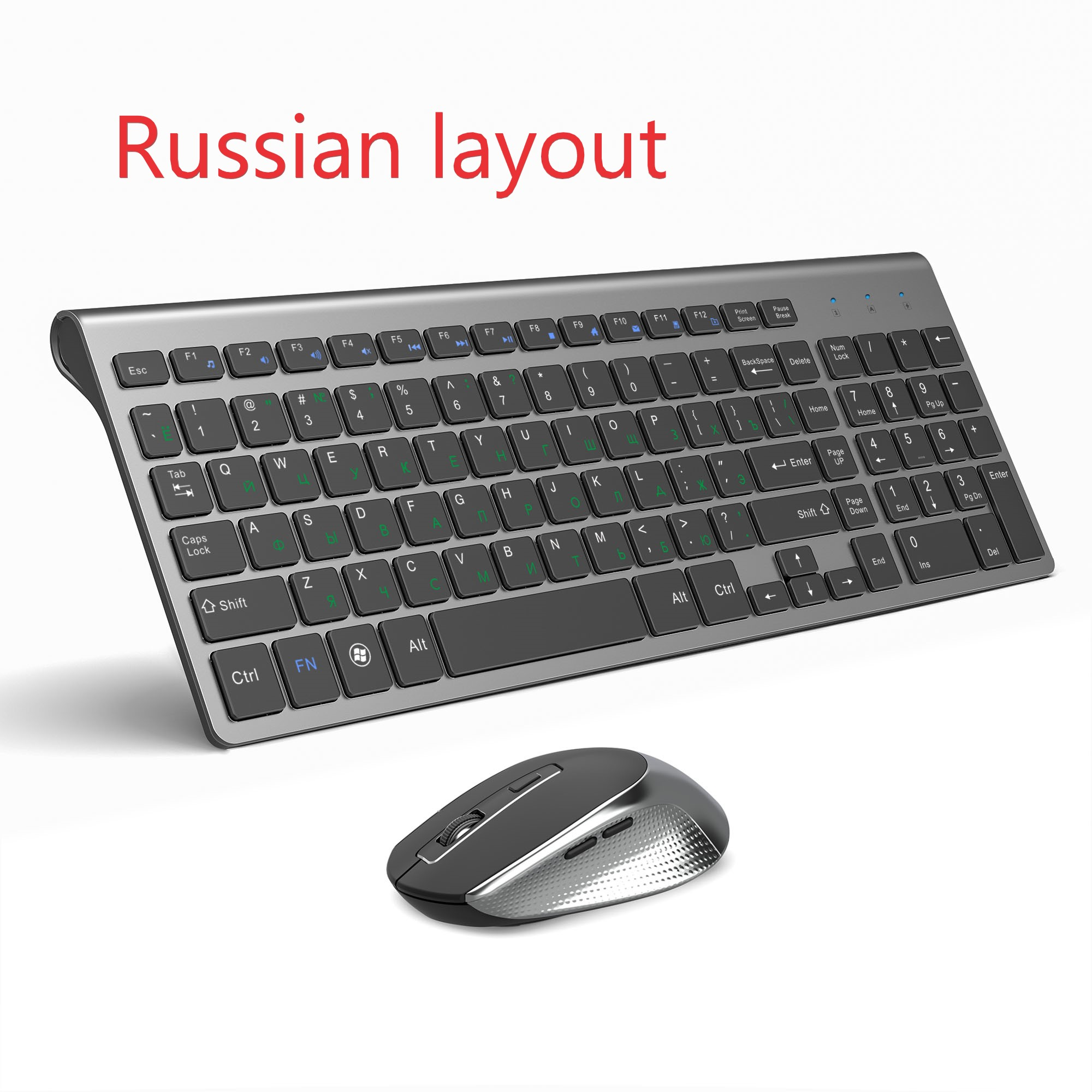Russian Keyboard Wireless Keyboard Mouse Set USB Receiver With Small Digital Compact Keyboard For Home Office Silent Mouse