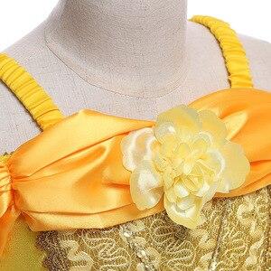 Image 5 - Vestidos bella de la bella y la bestia para niña, disfraz de princesa, disfraces de Cosplay, vestido de Bella de Disney, ropa de fiesta de boda y cumpleaños