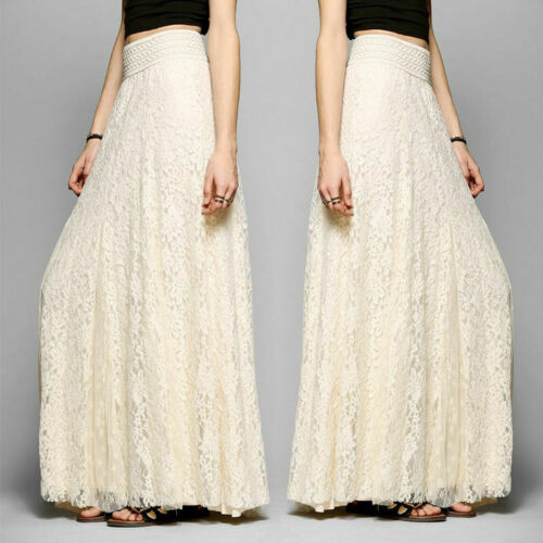 2019 Women Autumn Lace Doulb Layer Maxi Skirt Fashion Ladies High Waist Tulle Casual Solid Elastic Beach Maxi Long Skirts