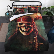 Thumbedding Skull Bedding Set Pirate Vintage Soft 3D Duvet Cover King Size Queen Twin Full Single Double Unique Design Bed Set(China)