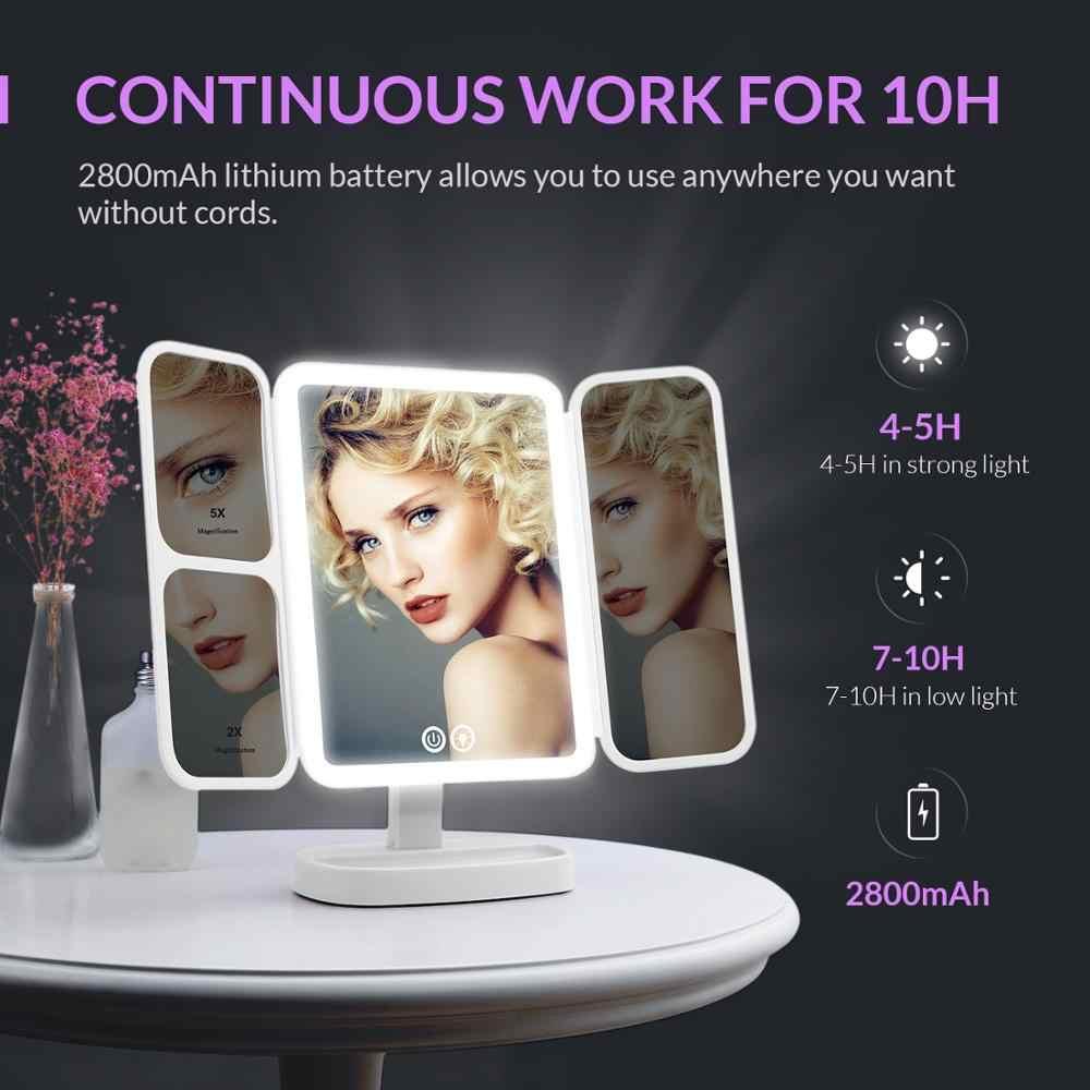EASEHOLD 2x/5x/10x Lente di Ingrandimento Specchio Per Il Trucco Cosmetico 66 Led Ricaricabile 3 Modalità di Colore Regolabile 180 e 90 gradi di Rotazione