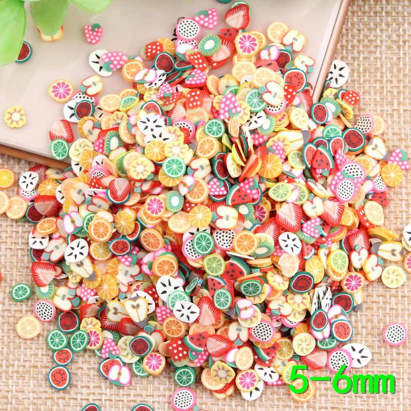 1000pcs Soft pottery Fruit slices Filler For Nails Art Tips Slime Animal Cake For Kids DIY slime Accessories Supplies Decoration