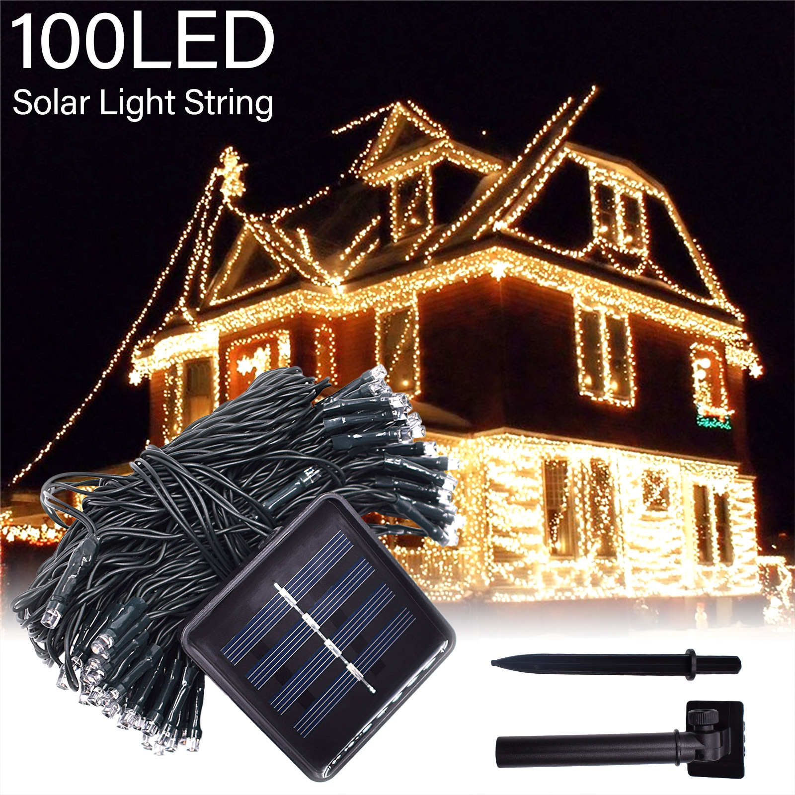 8 Modes Solar String Lights Outdoor Lighting Waterproof Christmas Fairy Light For Xmas Garden Homes Ambiance Wedding Party Decor