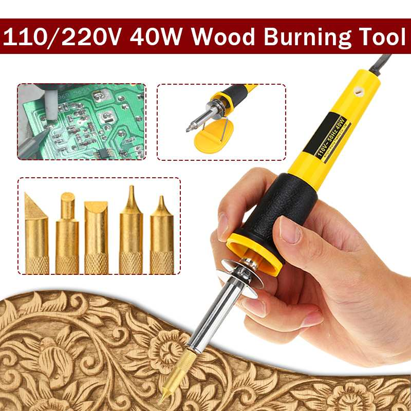 7PCS/Set 40W Electric Soldering Iron Pen Wood Burning Pen Set Pencil Burner 110V/220V EU/US Plug With Brass Tips And Accessories