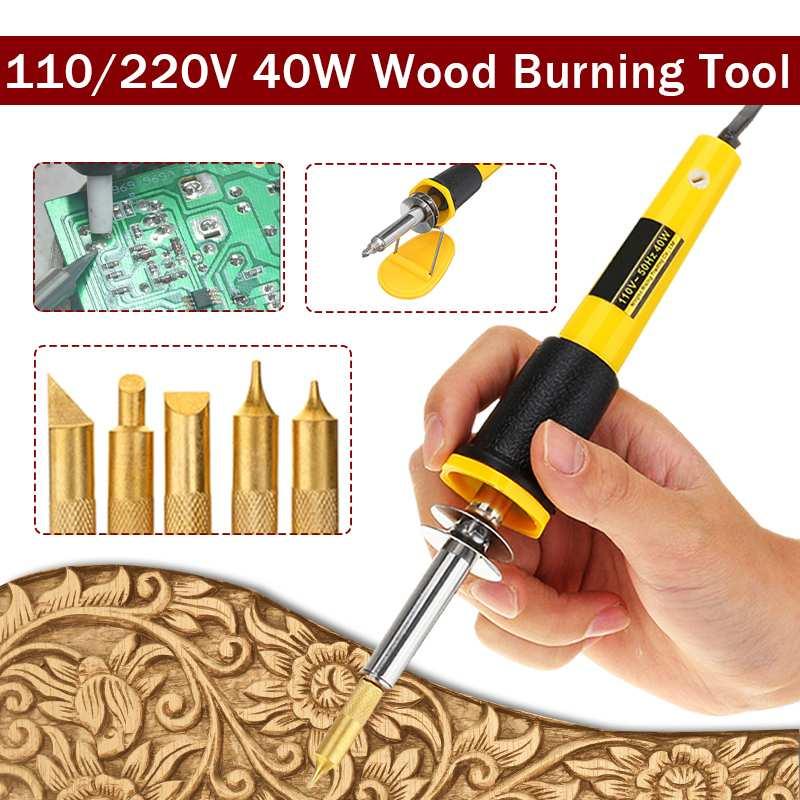 7PCS/Set 40W Electric Soldering Iron Pen Wood Burning Pen Set Pencil Burner 110V/220V EU/US Plug With Brass Tips And Accessories