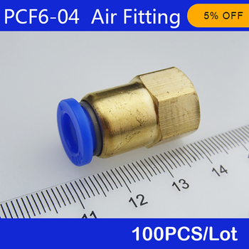 "Free shipping HIGH QUALITY 100pcs BSPT PCF6-04, 6mm to 1/2"" Pneumatic Connectors Female straight one-touch fittings"