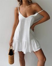 2021 sommer Kleid Zaraing-Stil Za Sheining Vadiming Weibliche Solide V-ausschnitt Armelloses Mini Kleid Dropshipping