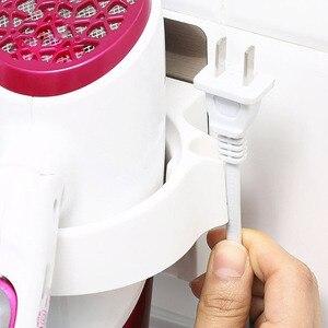 Image 4 - Multifonction salle de bain stockage sèche cheveux support douche organisateur auto adhésif mural en plastique étagère shampooing lisseur