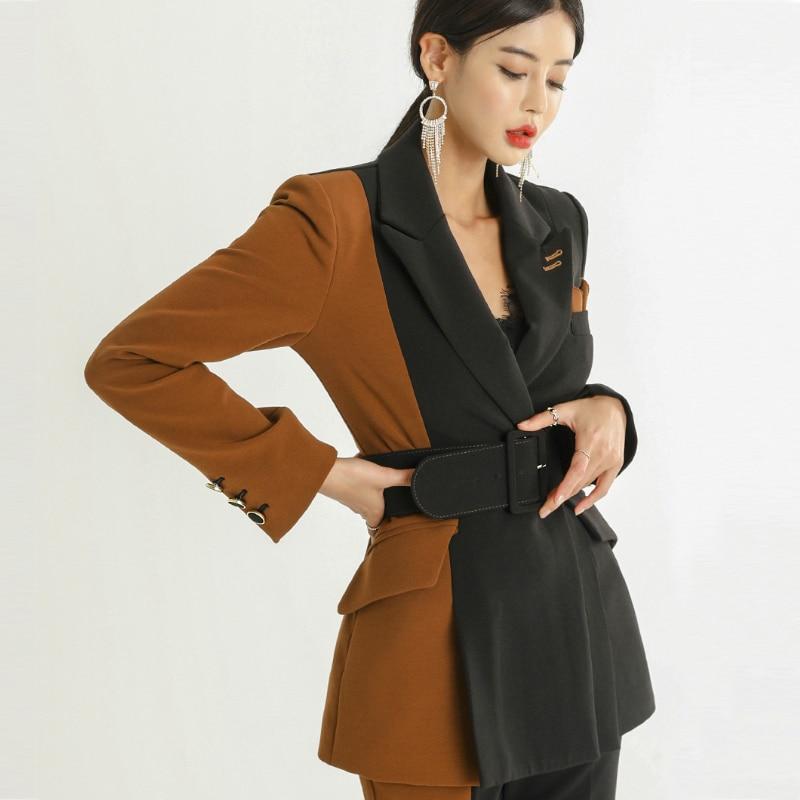 Women's 2 Piece Set Autumn New Commuter Fashion Color Matching Suit Jacket + High Waist Slimming Temperament Trousers Two-piece