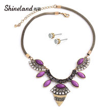 Shineland Vintage Ethnic Jewelry Set Purple Resin Stone Geometric Necklaces & Pendants Earrings for Women Gift Cheap Wholesale(China)