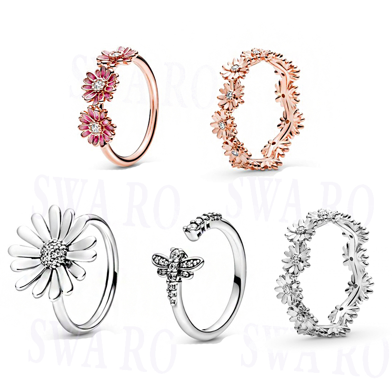 2020 New Fashion High Quality Hatsune 925 Rose Gold Stackable Glittering Daisy Flower Crown Ring Original Woman Jewelry Gift
