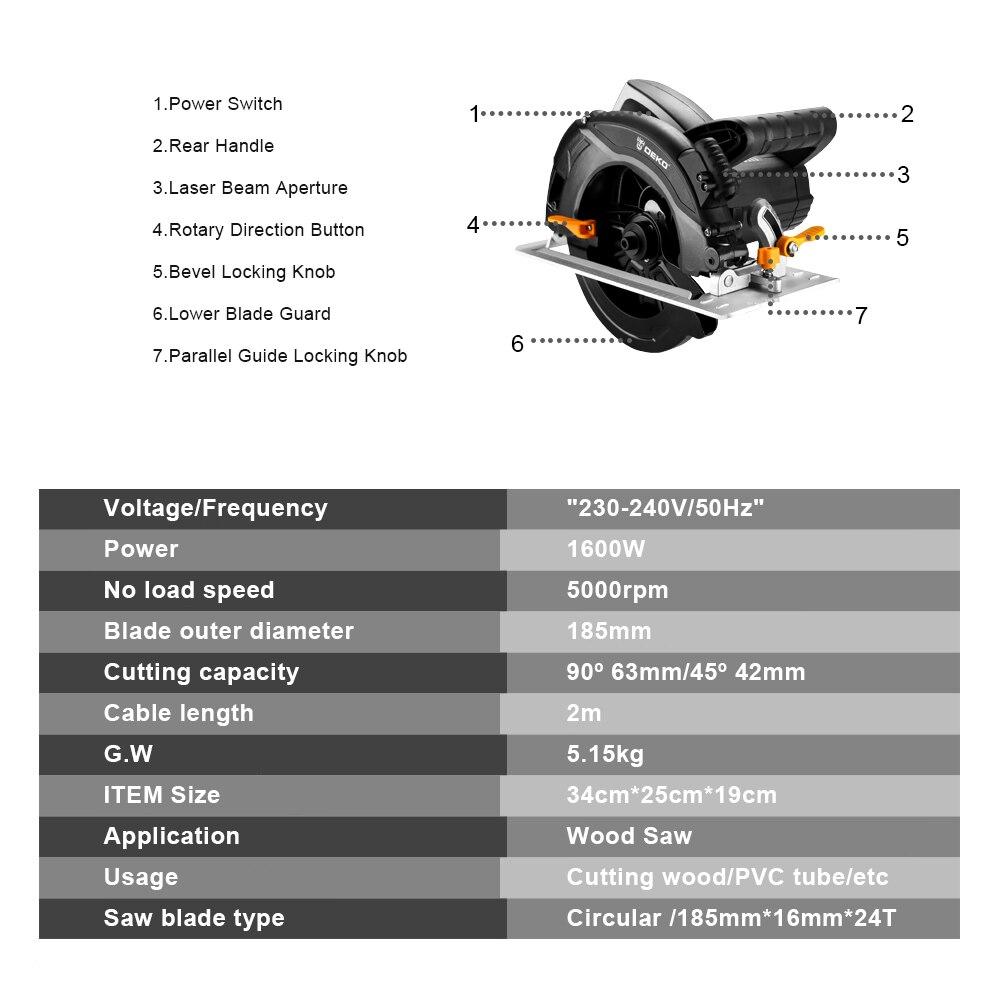 DEKO Kreissäge Power Werkzeuge mit Klinge, Multi-funktion Schneiden Machin und Staub Passage, Hilfs Griff, high Power DKCS160