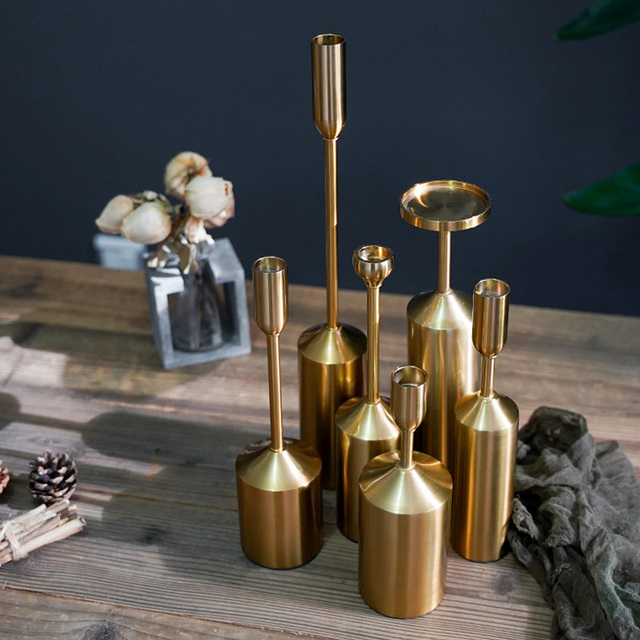 Simple moments Metal Gold Plated Candle Holders High Quality Pillar Wedding Decoration Candlestick Home Decoration Candlestick 4