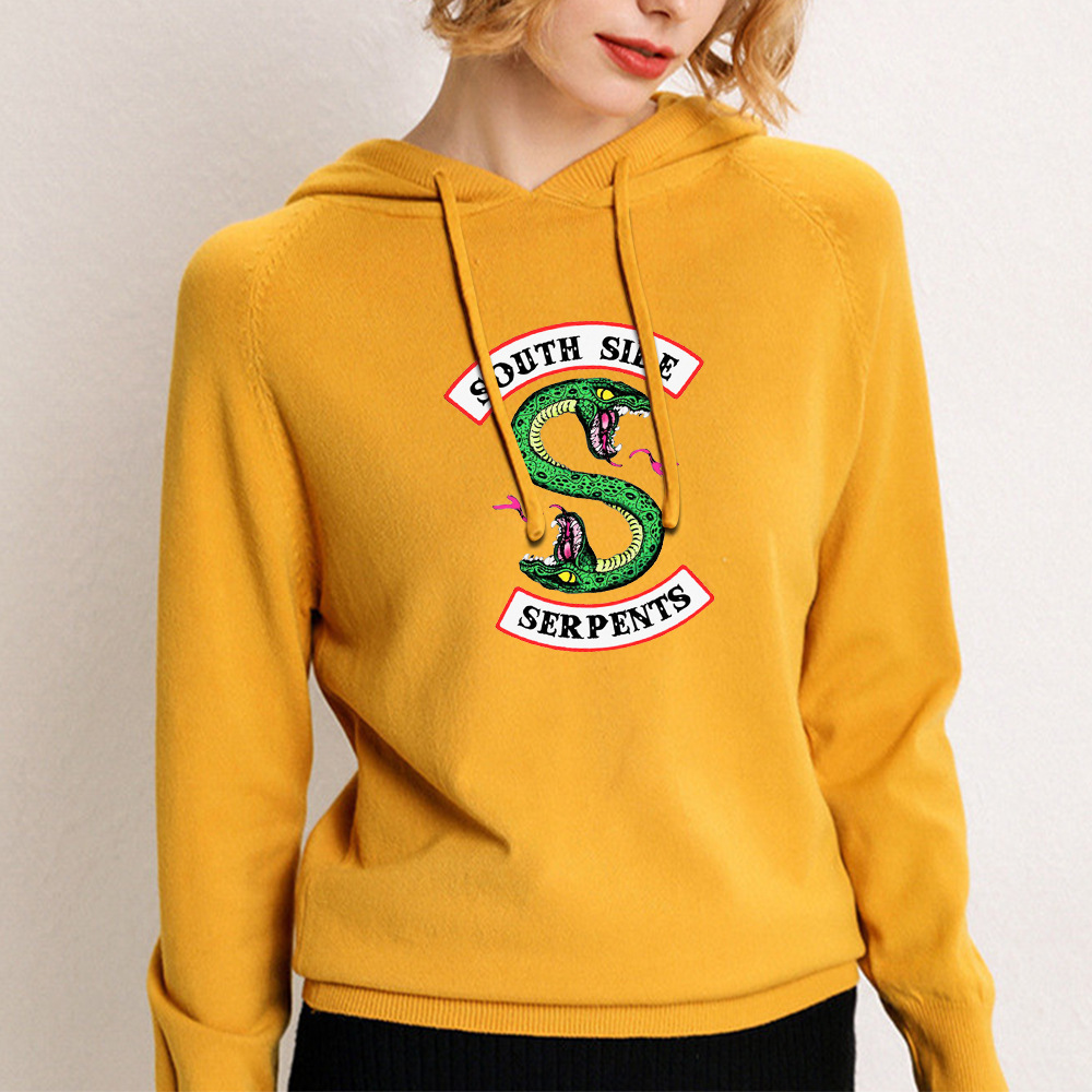 New European And American Big Yards Sweater Female Sweater Riverdale South Side Serpents Fashion Wild Hooded Sweater