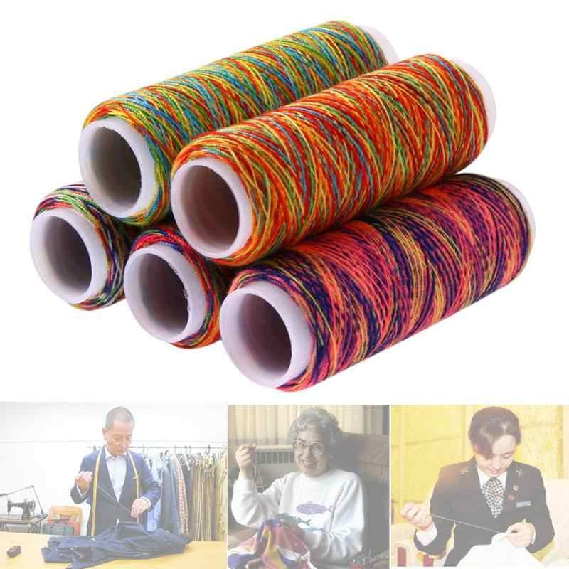 5pcs Ongeveer 110m Regenboog Kleur Naaigaren Hand Quilten Borduren Naaigaren Huishoudelijke Kleding Reparatie Accessoires