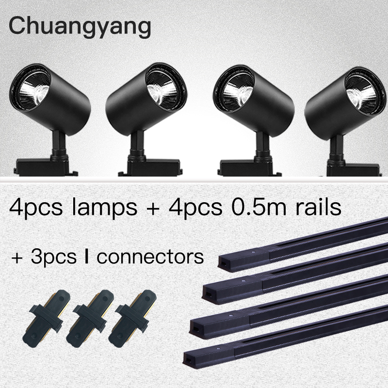 Whole Set COB 12W 20W 30W 40W Led Track Light Aluminum Track Rails Track Lighting Spot Lights Replace Halogen Track Lamps