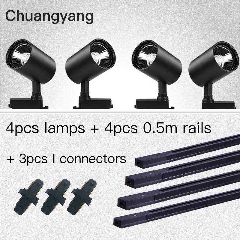 Whole Set COB 12W 20W 30W 40W Led Track Light Aluminum Track Rails Track Lighting Spot Lights Replace Halogen Track Lamps