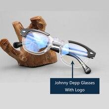 Johnny Depp gözlük optik gözlük çerçeve erkekler kadınlar asetat gözlük çerçeve Retro marka Logo ile en kaliteli 313